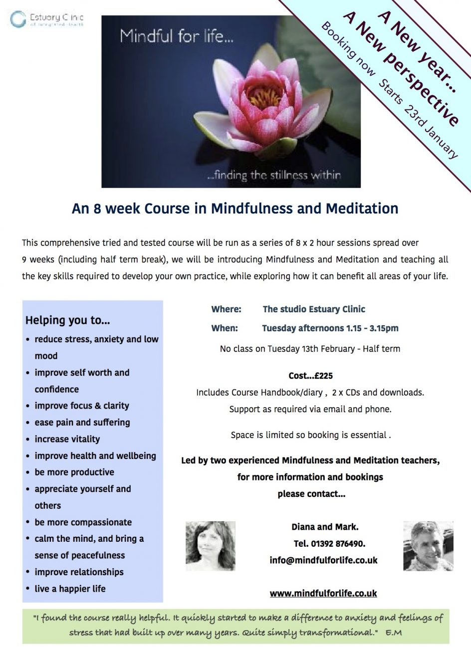 Mindfulness & meditation course