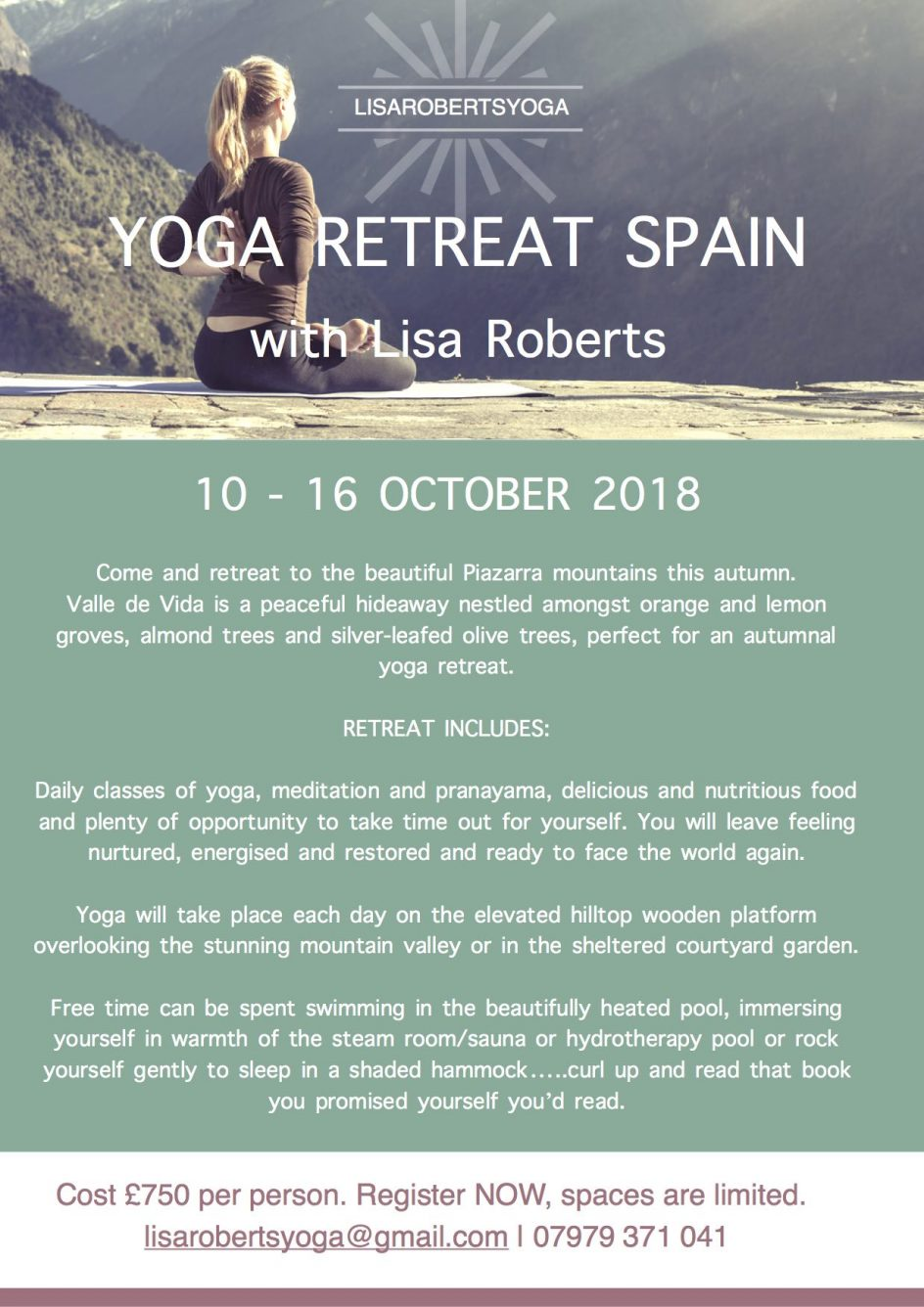 Lisa Roberts yoga Retreat 2018