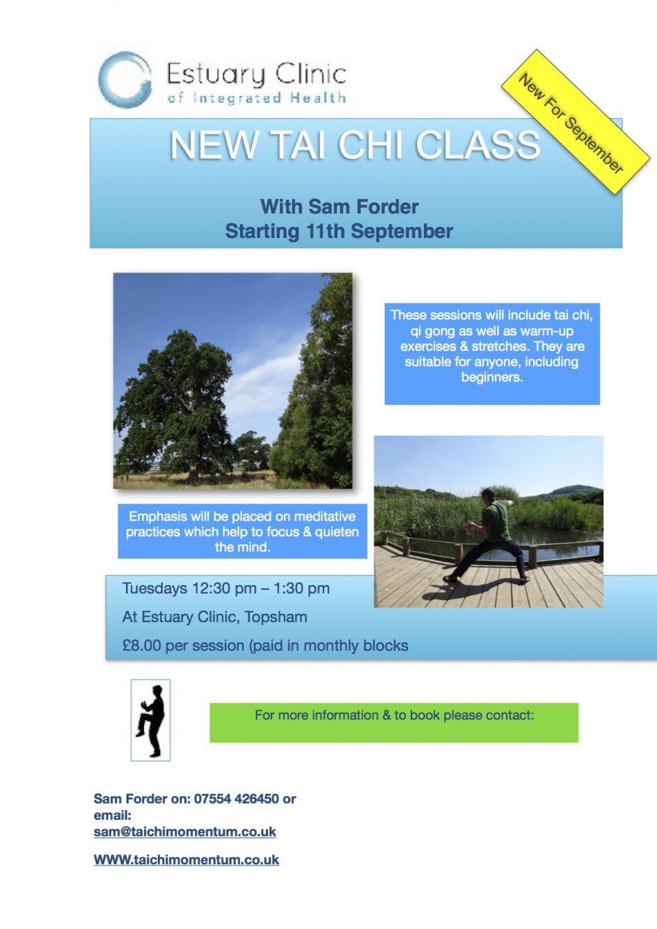 Tai chi class starting in September